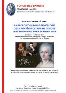 Généalogie de Pensée d'Olympe de Gouges - Entre Étienne de la Boétie et Albert Camus